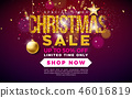 Christmas Sale Design with Ornamental Ball and Falling Confetti on Dark Background. Holiday Vector 46016819
