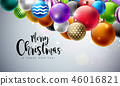 Merry Christmas Illustration with Multicolor Ornamental Balls on White Background. Vector Happy New 46016821