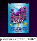 New Year Party Celebration Poster Template Design with 3d 2019 Number and Disco Ball on Blue 46016825