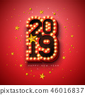 2019 Happy New Year illustration with 3d light bulb typography lettering and gold star on red 46016837
