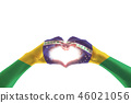 Brazil flag on hands in heart shape for labor day 46021056