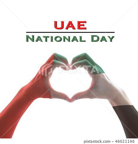 UAE, United Arab Emirate national flag on hand 46021198