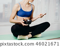 fit woman using personal smart diet planner app 46021671
