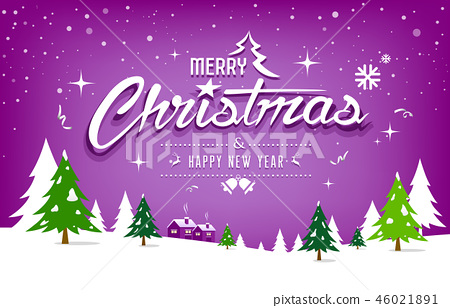 Merry Christmas, tree and snow design on purple 46021891