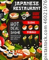 Japanese restaurant poster with seafood raw dishes 46021976