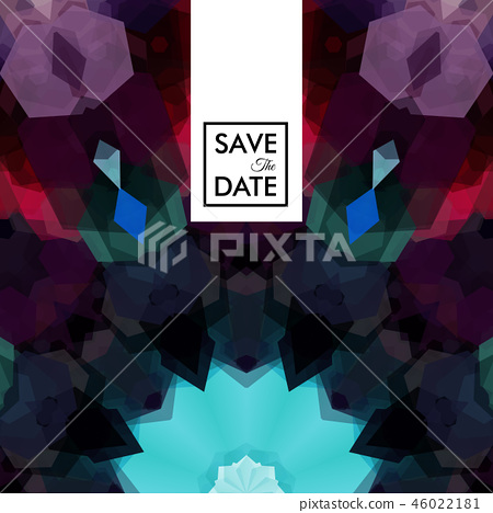 Geometric shaped pattern with save the date text 46022181