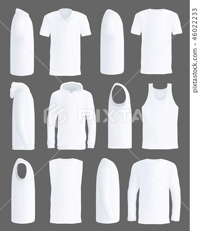 Shirts and sportswear apparel vector mockups 46022233