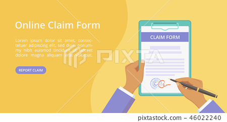 Hands with clipboard claim form web page template 46022240