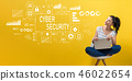 Cyber security with woman using a laptop 46022654