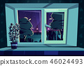 Vector window at night, rosemary on sill 46024493