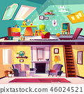 Vector interior of playroom and living room 46024521