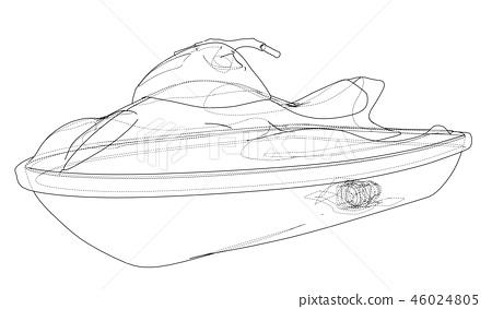 Jet ski sketch. 3d illustration 46024805