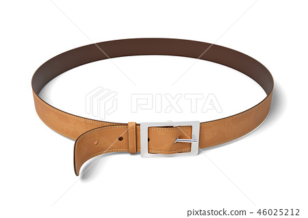 3d rendering of brown leather belt with metal buckle isolated on white background 46025212
