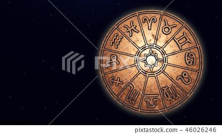 Astrological zodiac signs inside of copper horosco 46026246