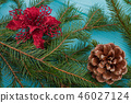 Close up green fir branches with decorations. 46027124