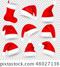 Christmas Santa Claus Hats With Fur Set, Sock. Xmas, New Year Red Hat With Shadow. Winter Cap 46027136