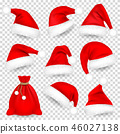 Christmas Santa Claus Hats With Fur Set, Bag, Sack. Xmas, New Year Red Hat With Shadow. Winter Cap 46027138