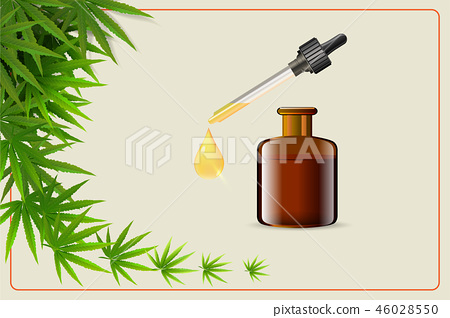 Vector green cannabis oil. CBD Oil. Marijuana leaf 46028550