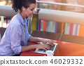 Mixed race female performing business negotiations on video chat. Telecommuting concept. 46029332