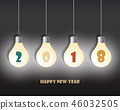 Happy new 2019 year. Greetings card.  46032505