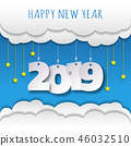 Happy new 2019 year. Greetings card.  46032510