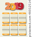 Happy new year 2019. Greetings card. 46032514