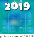 2019 Modern calendar template .Vector/illustration 46032516