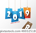 Happy new 2019 year. Greetings card.  46032518