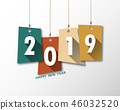 Happy new 2019 year. Greetings card.  46032520