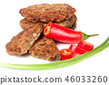 liver pancakes or cutlets with chili pepper and green onions isolated on white background 46033260
