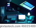 Vector attic room at night. Cartoon garret 46035489