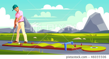 Vector background with golf player on field 46035506
