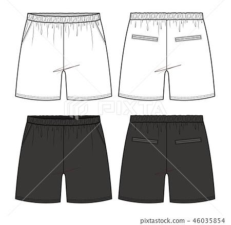 Short pants fashion flat technical drawing 46035854