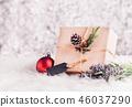 Brown paper craft warped on present box 46037290