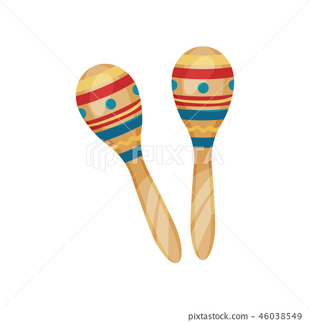 Pair of maracas percussion musical instrument vector Illustration on a white background 46038549