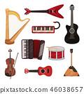 Musical instruments set, harp, synthesizer, guitars, accordion, balalaika, drum vector Illustration 46038657