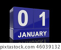The date of 1 January in white letters 46039132