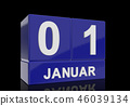 The date of 1 January in white letters 46039134