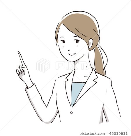 Woman in white coat Description Simple handwriting style 46039631