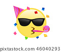 Yellow kissing mouth icon with sunglasses 46040293