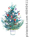 Christmas tree. New year, xmas celebration. Watercolor drawing. Watercolour painting 46040411