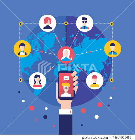 Social network concept Hand with mobile phone 46040993