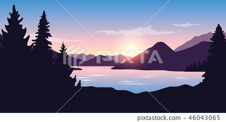 big river and forest nature landscape at sunrise in purple color 46043065