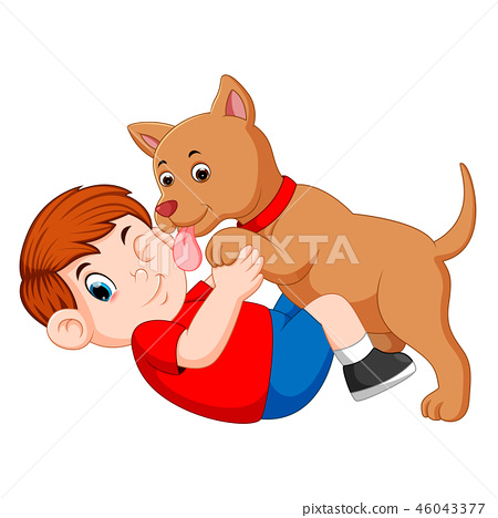 Boy playing with dog and dog licking his owner 46043377