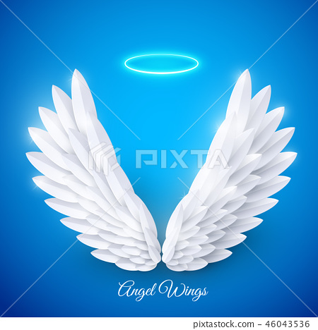 Vector 3d white realistic layered paper cut angel wings 46043536
