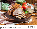 Baked pork ham on cutting board 46043946
