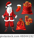 Santa suit and Christmas attributes vector set 46044192
