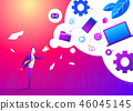 Cartoon man in business suit promoting with megaphone doodle icon concept. Flat design, vector 46045145
