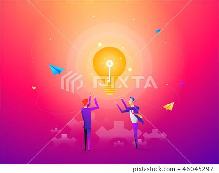 Business man with golden key help unlock idea bulb. Business idea, development and strategy concept 46045297