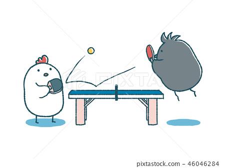 寬鬆的桌子和烏鴉乒乓球 46046284